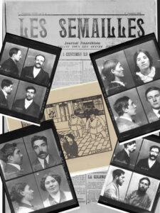 Montage d'archives anthropométriques et de coupures de journaux anarchistes.